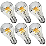 CanYa A60 led Bulb 60 Watt Equivalent 6W E26 Based LED Filament Vintage Dimmable Bulb with Mirror Half Chrome Silver Bulb Energy Saving 2700k Warm White for Decorate Home Celebration Pack of 6