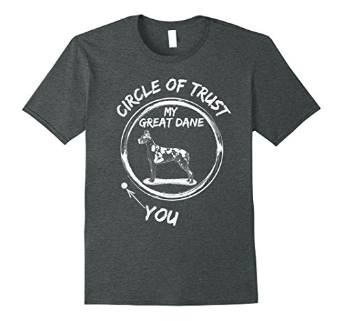 Mens Vintage Effect Circle Of Trust My Great Dane And You T-Shirt Large Dark Heather Dane Vintage Colors