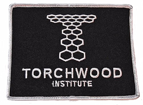 "Doctor Who TORCHWOOD INSTITUTE Black On White 4 1/4"" Wide Embroidered Patch"