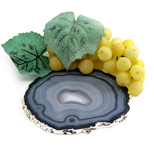The Royal Gift Shop Single Authentic Brazilian Agate Slice with Silver Plated Rim -Protective Rubber Bumpers and Certified Agate Card Included. Smokey Grey (4