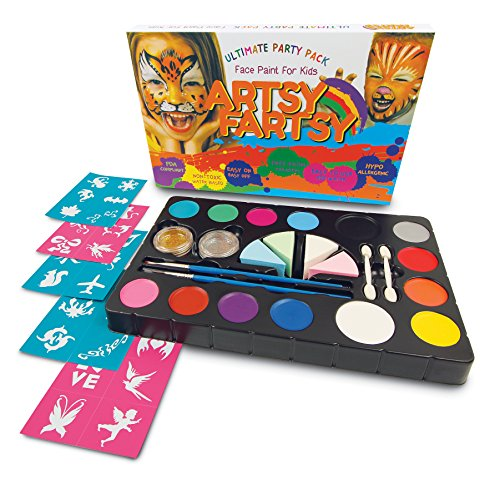Face Paint Kit For Kids And Adults By Artsy Fartsy: 14 Vibrant Colors, 2 Loose Glitter Shades, 50 Stencils, 4 Blending Sponges, 2 Applicators, 2 Brushes, For Halloween Parties And Cosplay Costumes
