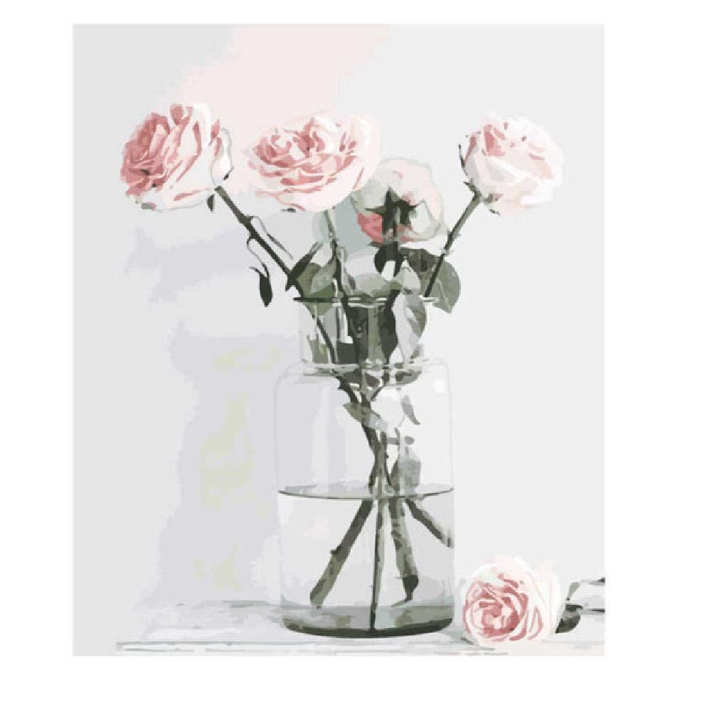 40x50cm  jjyyh Peintures par Numéros Plusieurs Roses dans Un Vase 120X160Cm Bricolage Peinture à l'huile Linen Toile pour Adultes Les Enfants Débutants des Gamins' Jouet Numéros Peinture par Décoration Murale