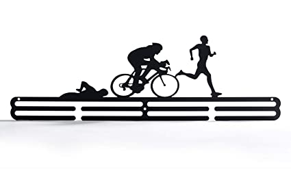Deportes medalla, medalla percha pantalla triatlón de acero al carbono dos niveles profesional de montaje en pared