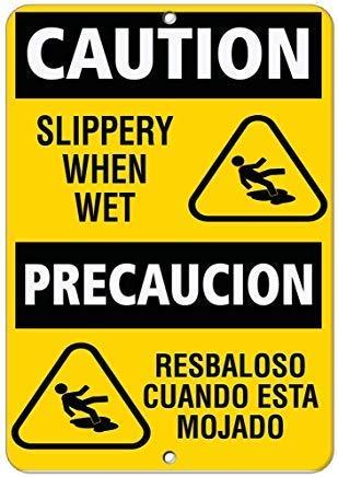 WallAdorn Caution Slippery When Wet Hazard Vinyl Hazard ...