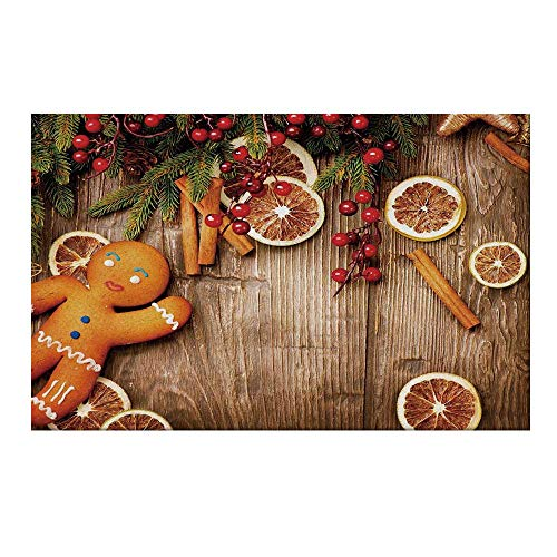 Biscuit Accord - YOLIYANA Gingerbread Man Durable Door Mat,Rustic Composition with Holly Berry Orange Slice Cinnamon and Biscuit Decorative for Home Office,17.7