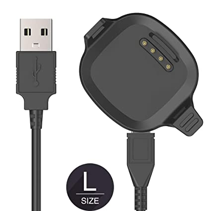 [Large Size 2.5CM Screen] TUSITA Charger for Garmin Forerunner 10 15 - USB Charging Cable 100cm - Smartwatch Accessories