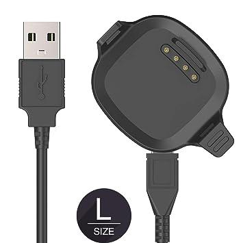 TUSITA Cargador para Garmin Forerunner 10,15 Grande - Cable de carga USB 100cm pinza de la base - Reloj GPS Accesorios