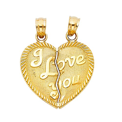 TGDJ 14K Yellow Gold ''I Love You'' Couple Broken Heart Pendant - (Height 20 MM Width 20 MM) by Top Gold & Diamond Jewelry