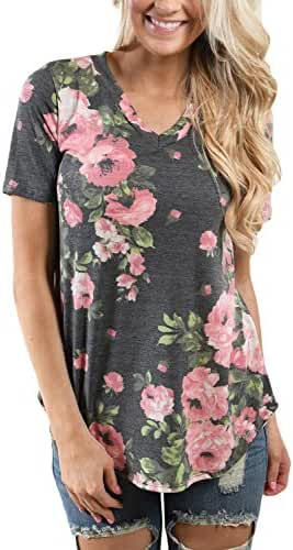 ZKESS Women Short Sleeve V-Neck Floral Printed Blouse Casual Tops T Shirt