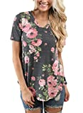 Women Short Sleeve V-Neck Floral Printed Flower Blouse Casual Loose Tops T Shirt Plus Size 2XL Size Grey