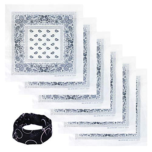 Basico Bandanas Value Pack 100% Cotton Paisley Head Wrap with Tube Face Mask/Headband (6pk- White)