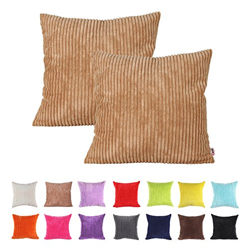 15 Inch Throw Pillow Covers : Queenie - 2 Pcs Solid Color Corduroy Decorative Pillowcase Cushion Cover for Sofa Throw Pillow ...