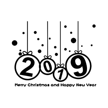 Happy New Year 2019 Merry Christmas Tree Wall Sticker Home Shop ...