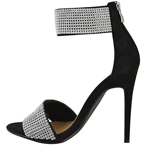 Mode Assoiffée Womens Mariée Diamante Talon Haut Talon Aiguille Cheville Partie Sandales Taille Noir Faux Daim