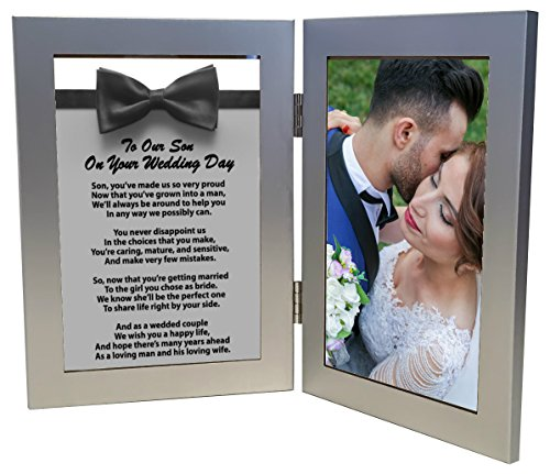 Wedding Gift for Groom, To Our Son On Your Wedding Day Gift, Sentimental Poem in 4x6 Inch Silver Picture Frame For Son on Wedding Day - Just Add Your Own Photo by Words Matter Gifts