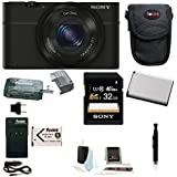 Sony Cyber-shot DSC-RX100 Digital Camera (Black) with 32GB Accessory Bundle