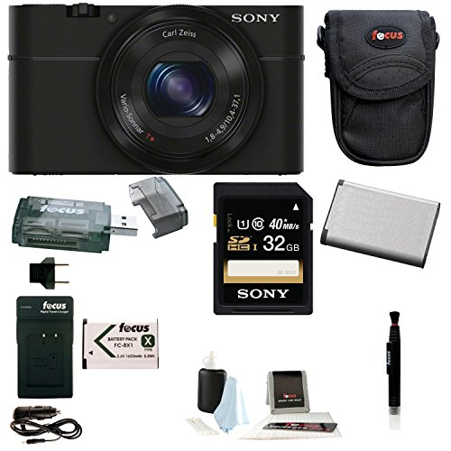 Sony Cyber-shot DSC-RX100 Digital Camera (Black) Bundles (32GB Travel Bundle)