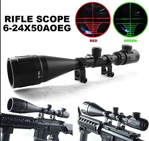 A-Aegis Riflescopes Optics Hunting Rifle Scope 6-24x50 AOE Red & Green Illuminated Crosshair Gun Scopes With Free Mounts