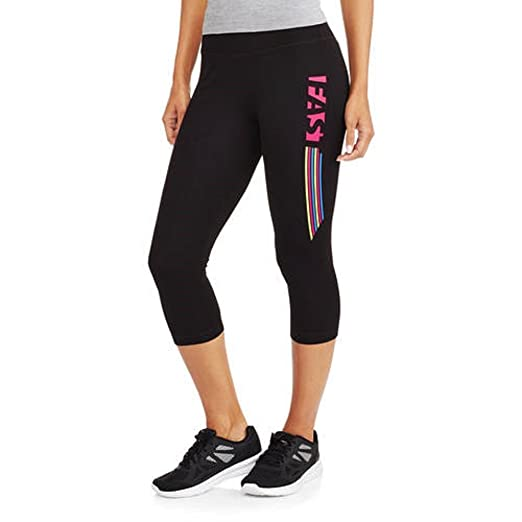 571dcf5a4927c3 Athletic Works Women's Fitspiration Cotton Graphic Capri Leggings (L, Black  Soot Supercharge Pink)