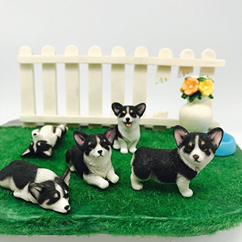 Hand-Made and Painted Pet 5-Pack Pembroke Welsh Corgi Sculpture Figurine Toy,Corgi Collectibles, Pembroke Welsh Corgi Art, Birthday Gift (Black) ()