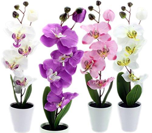 Deko - Orchideen Kunstpflanzen Rispen mit Topf ca 38cm (lila)