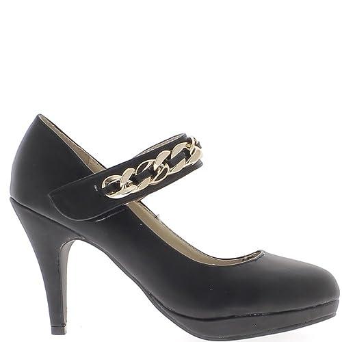 de Zapato Zapatos Parte ChaussMoi del 10cm la Amazon complementos Zapatos Tacón y Delantera Fino y con es Negros S7HxqXwH