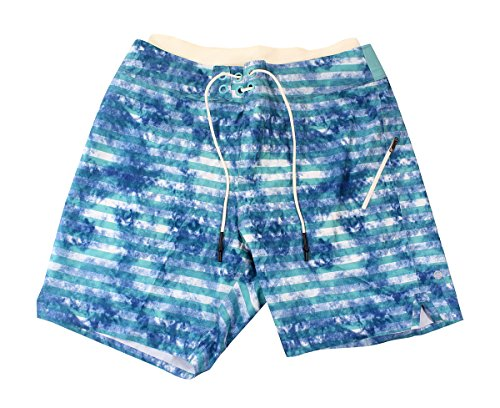 Lululemon Mens Tidal Stripe White Arctic Teal El Current Short 9 - Swim Mens Shorts Lululemon