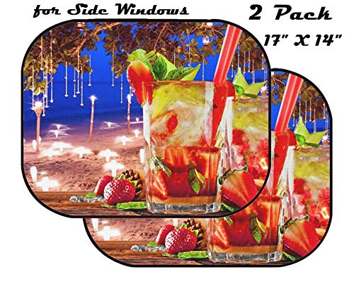 Tropical Alcohol Drinks - MSD Car Sun Shade for Side Window - UV Protector for Baby and Pet - Block Sunlight - Image of Cocktail Drink Alcohol Beverage Tropical Fruit Glass Summer Juice Cold Refreshment Lime ice Alcoholic pa