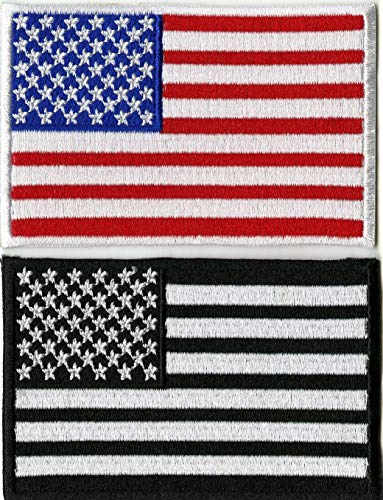 - American Flag Patches | USA Patriotic Red White Blue Iron or Sew on Embroidered Patch | 2pc. Set (3.25