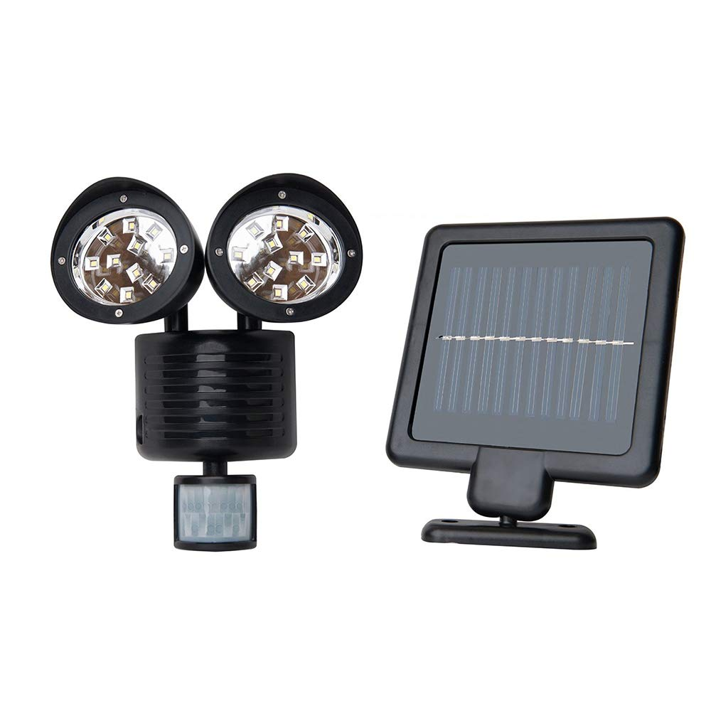 Upgrade Solar Powered Motion Sensor Lights 22 SMD Garage Outdoor Security Flood Spot Light (Black)