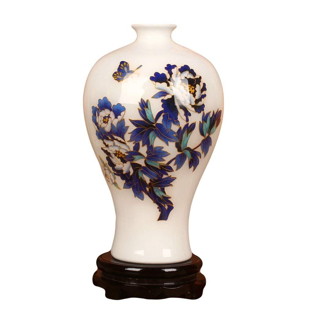 花瓶セラミック花瓶ゴールドシルクホワイト牡丹梅ボトル現代ファッションホームコレクションクラフト装飾(ベースを送る) LQX B07SNPDBRX