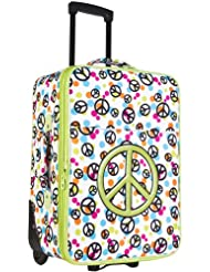 Ever Moda Green Peace Sign 20-inch Expandable Carry On Rolling Luggage