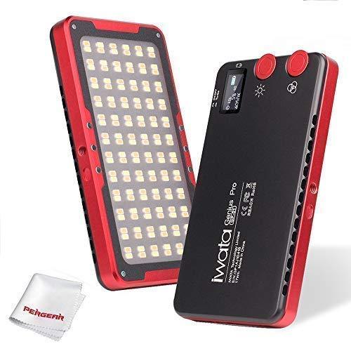 【1年保証】Iwata Pro 144 LED オンカメラLEDビデオライト OLEDスクリーン CRI97 TLCI99正確な色 2600-6000K調節可能 PERGEARクリーニングキット同梱   B07N4H5B78