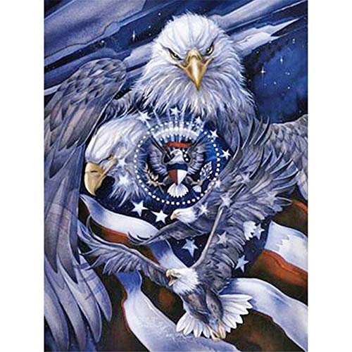 Diy 5D Diamond Painting Kit, Full Drill Animal Eagle?Crystal Embroidery Cross Stitch Arts Craft For Canvas Wall Decor