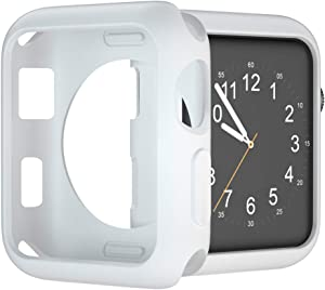 U191U Compatible with Apple Watch Case 38mm 42mm 40mm 44mm, Soft TPU Protective Bumper Cover for iwatch Series 5 4 3 2 Case (White, 42mm)