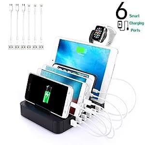 6 port usb charging station dock stand organizer multi. Black Bedroom Furniture Sets. Home Design Ideas