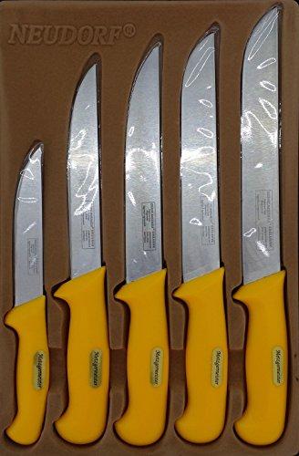 Neudorf Manufaktur Metzgermeister Fleischermesser Metzgermesser Set in Profiqualität 5-teilig/ Edelstahl (handgearbeitet)/ spezielle ergonomische Griffe/ Top Qualität