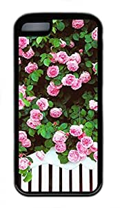 iPhone 5c case, Cute Pink Roses iPhone 5c Cover, iPhone 5c Cases, Soft Black iPhone 5c Covers