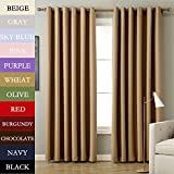 Cheap RUYI Solid Thermal Insulated Blackout Curtain Panel Drape Antique Bronze Grommet Eyelet Wheat 84Wx84L Inch (1 Panel)