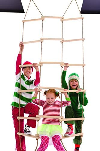 HearthSong%C2%AE Triple Wide Climbing Ladder Maple wood product image