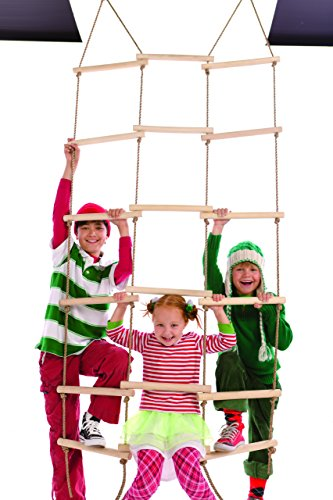 Triple-Wide Climbing Rope Ladder, Maple-wood - Natural Wood- 6'H x 36