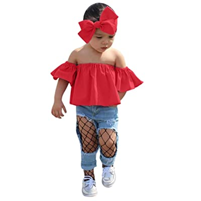 Efaster Baby Clothes,Girl Off Shoulder Pure Color Bra Tops+Headband Outfit Set