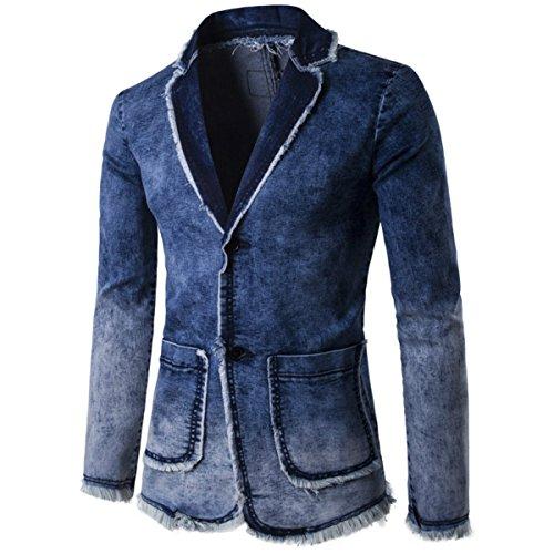 Men's Spring Summer Fashion Cowboy Suit Jacket Men Casual Two-Button Denim Suit JacketDark Blue