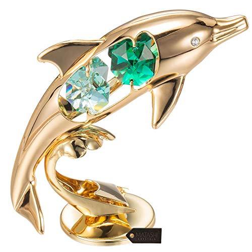 Matashi 24K Gold Plated Crystal Studded Dolphin Riding Wave Figurine ()