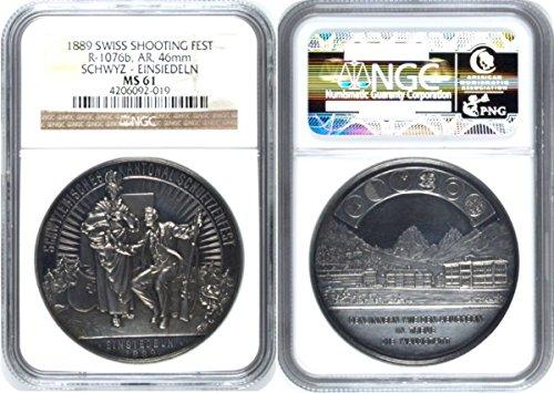 1889 unknown Swiss 1889 Silver Shooting Medal Schwyz Einsiedel coin Good