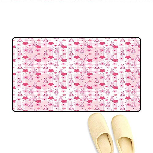 Bath Mat Stuffed Rabbit Toy Halftone Effect Flowers Checkered Faded Background Vintage Door Mat Increase Hot Pink Pale Pink 16