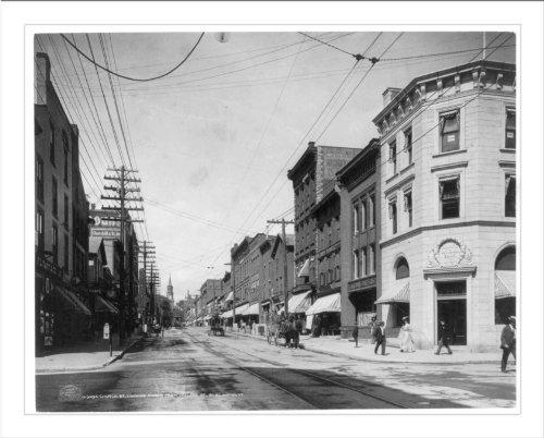 Historic Print (L): Burlington, Vt.: Church St., looking north from Collge - St Burlington Church Vt