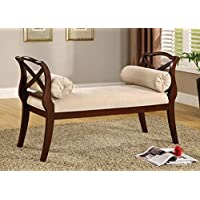 Furniture of America Bella Elegance Indoor Upholstered Dark Cherry Sette Bench