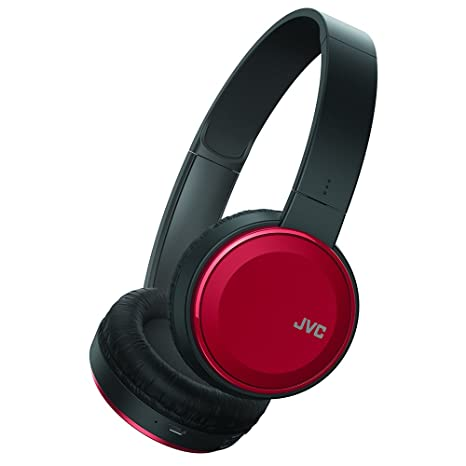 JVC Wireless Lightweight Flat Foldable On Ear Bluetooth Wireless Headband with Mic, Red (HAS190BTR