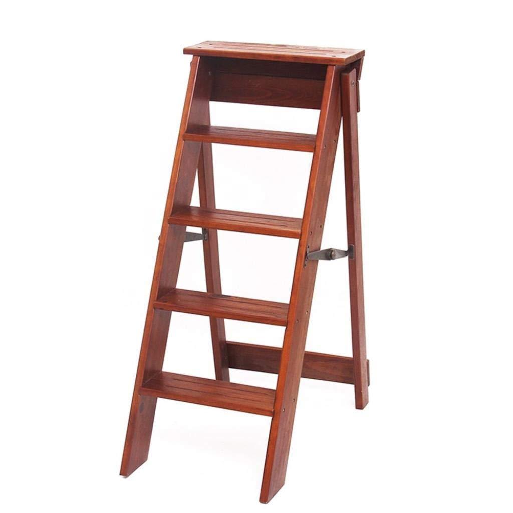 はしごスツール木製折りたたみステップスツール5層ラダー小さなはしごシンプルラダー多機能リフトスツール屋内階段椅子ファミリーフットスツールステップスツール34×59×88センチ (Color : Light Walnut) B07STCDFV5 Light Walnut